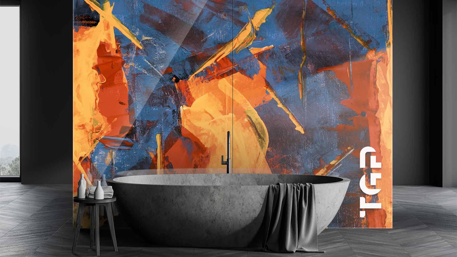 ART013 sticlă printată baie placare perete