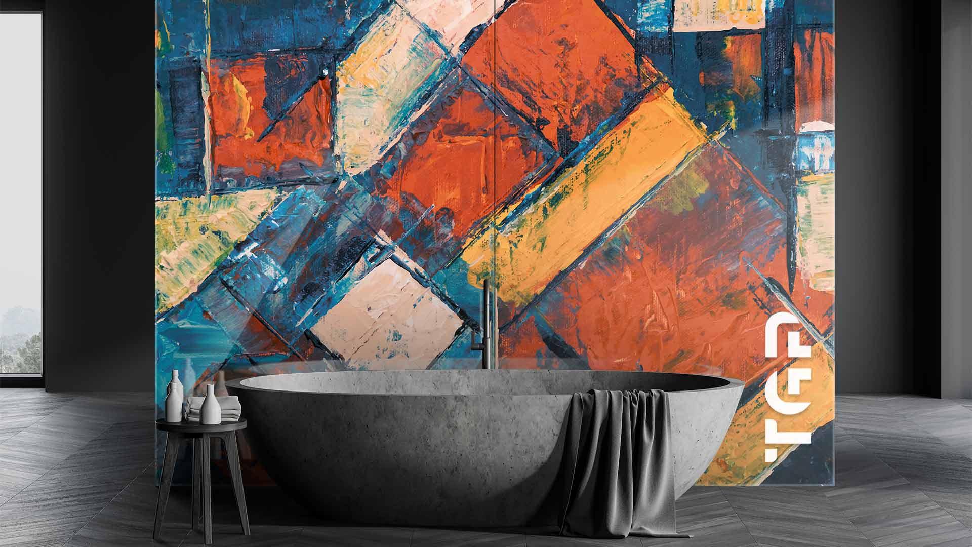 ART017 sticlă printată baie placare perete