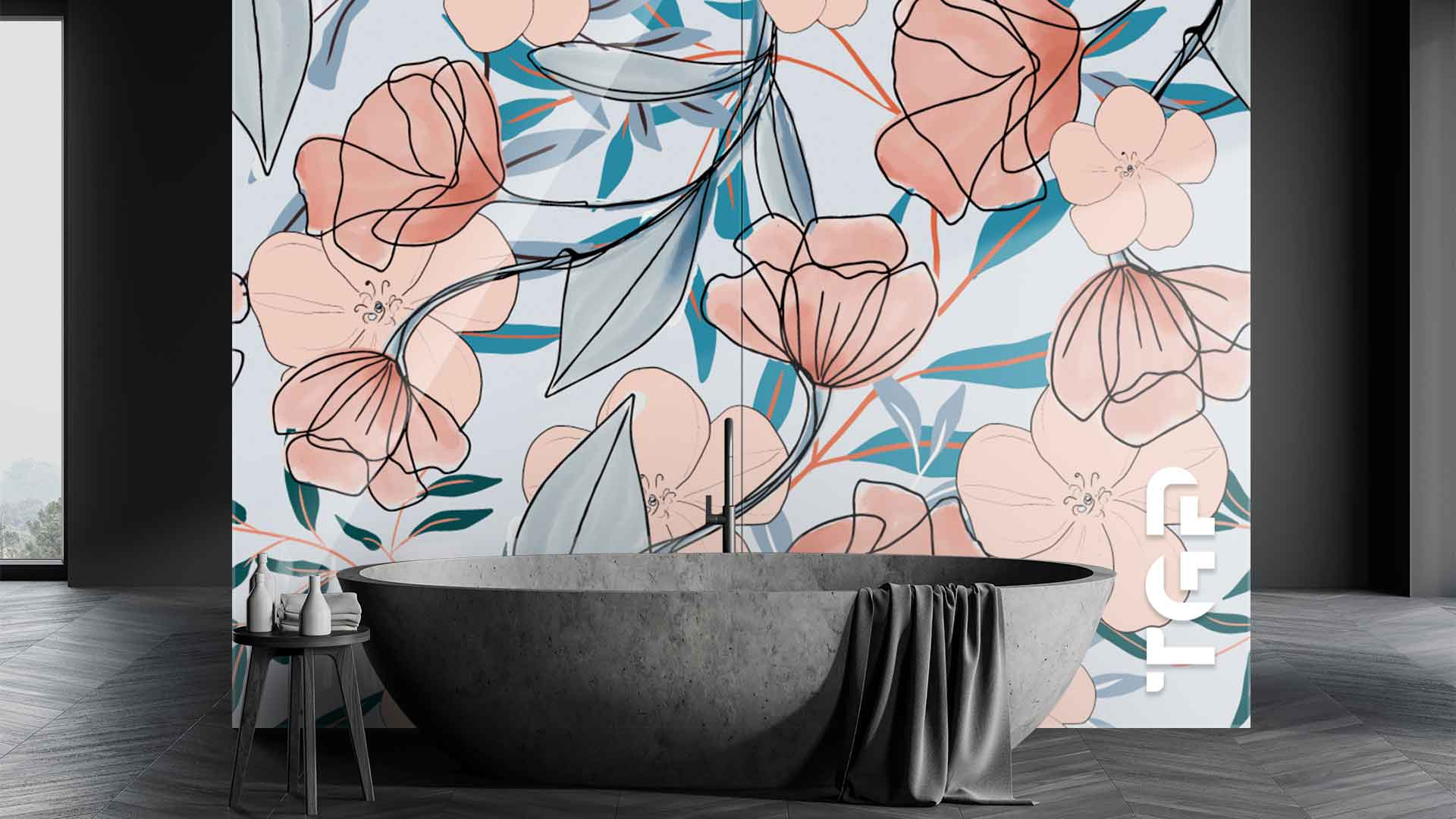 LEF013 sticlă printată baie placare perete