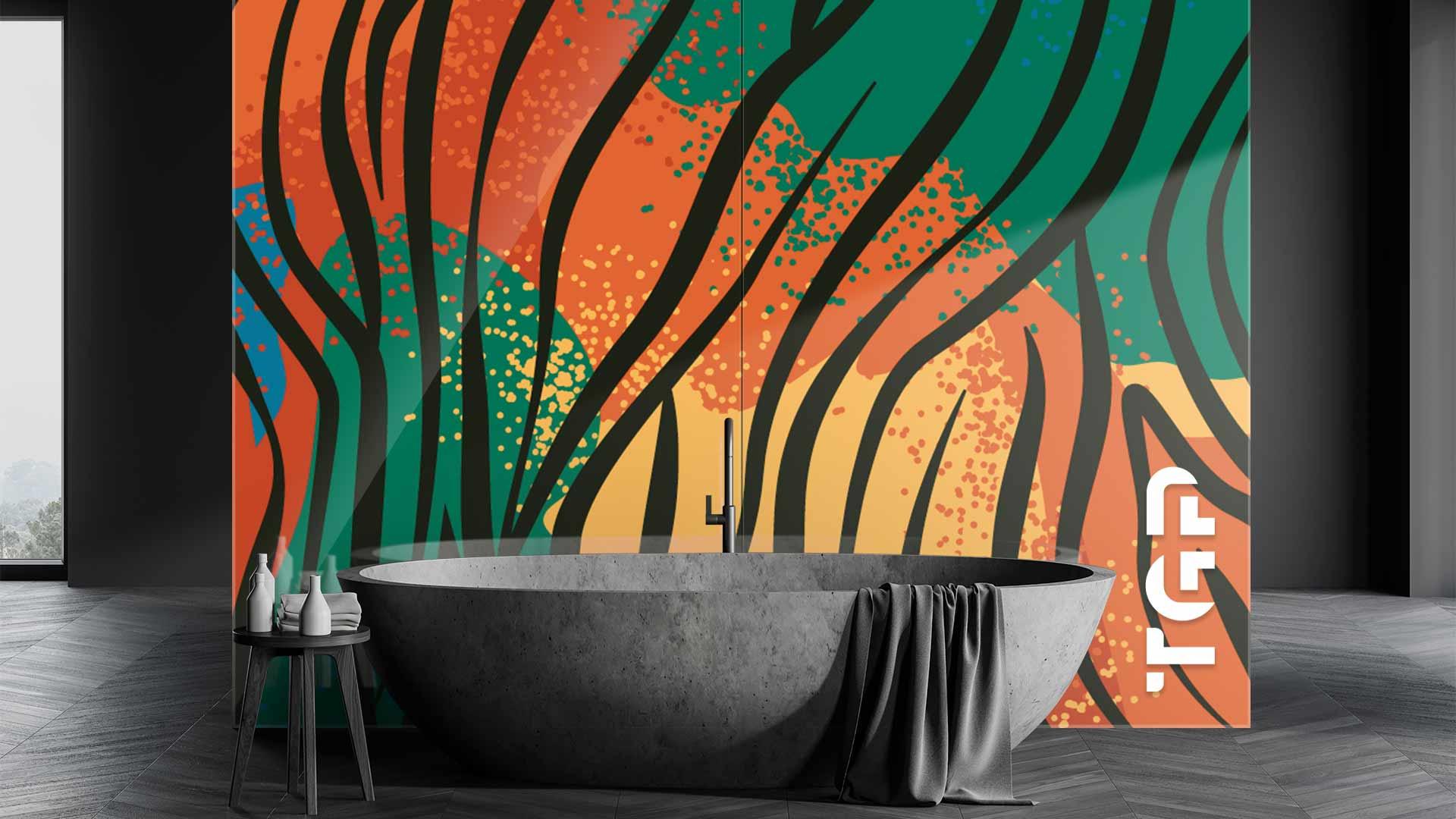 SFR001 sticlă printată baie placare perete